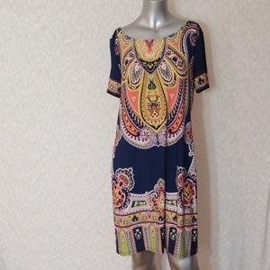 3/$24💟TIANA B. Wide Neck Print Midi Dress